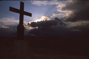 Lone Cross atop a mountain in east central California, hope of a sunny day breaking through.